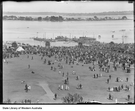 Elevated view of crowd in the Esplanade Perth. Swan river and South Perth in the background, 1928.