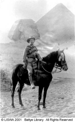 H. Phil Fry mounted on horse in front of the Sphinx in Egypt, 10th Light Horse, 1915.