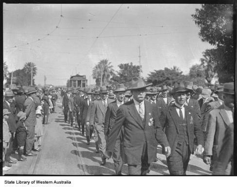 Ex-servicemen marching in the 1930 ANZAC Day Parade, Perth.