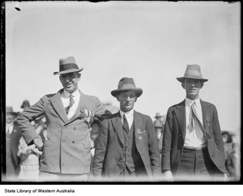 Hugo Throssell, James Woods and Thomas (Jack) Axford, VC winners at the 1928 ANZAC Day ceremony .