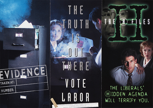 1996 X files inspired Labor Party campaign material