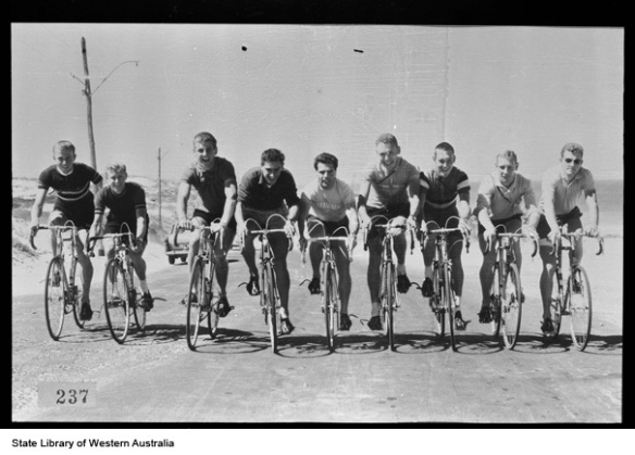 Cyclists at the Perth British Empire and Commonwealth Games train on the road, 1962.