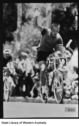 In the 120 mile road race England's Wesley Mason flashed to the front with 200 yards to go and pip Tony Walsh to the finish, 1962.