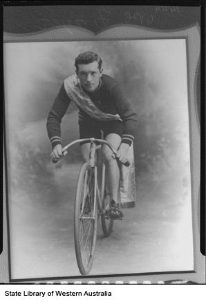 Photograph of a photograph of H. Fraser, Boulder Cycling Club 40 Mile Road Race Club Champion, 1906-1907