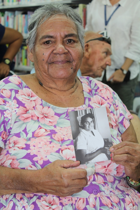Pearl Ashwin with  photograph, South Hedland Library 2014. Photo credit: South Hedland Library