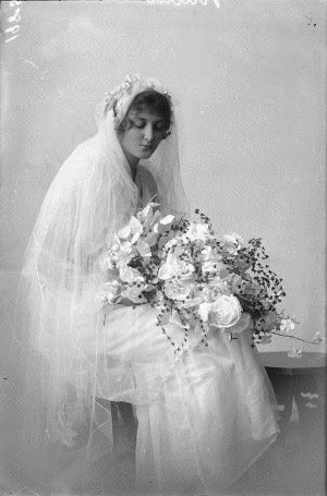 Studio portrait of Mrs Nuttall in her wedding dress c.1917, 153000PD