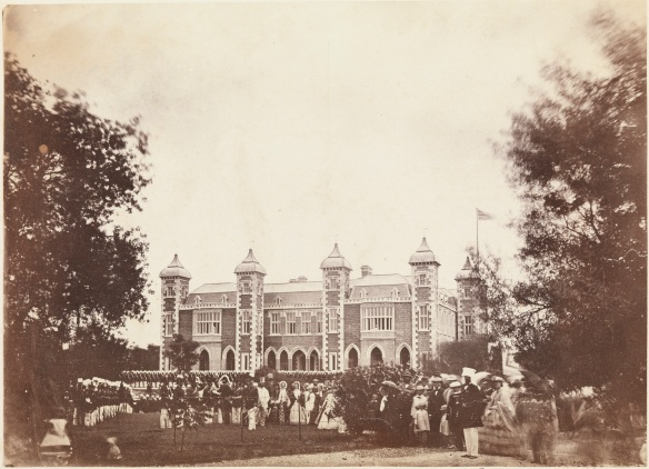 Government House and the WA Volunteers after the presentation of Commissions to the Officers by Governor J.S. Hampton, December 1863 (6923B/196) - appears on page 96 of the album
