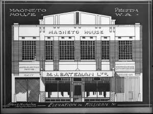 Drawing of the proposed Magneto House 12 Milligan St Perth for M.J. Bateman Ltd 1927 State Library of WA  100233PD
