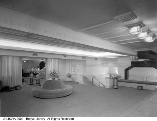 Metro Cinema Perth upstairs foyer c1940 State Library of WA  004214D