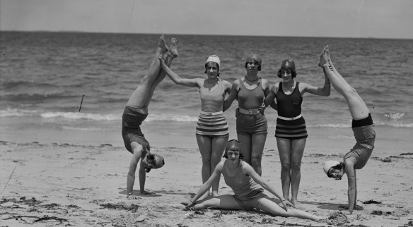 Chorus girls of regular nightly stage show at Princess Picture Theatre, Fremantle, at Cottesloe Beach, 1929, 041367PD, State Library if Western Australia pictorial collection