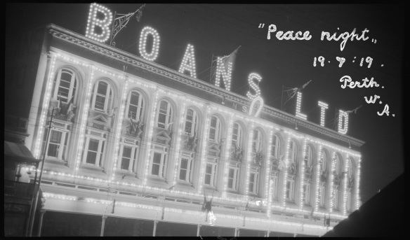 Peace Night illuminations in Perth, 19 July 1919, 112279PD, State Library of Western Australia pictorial collection