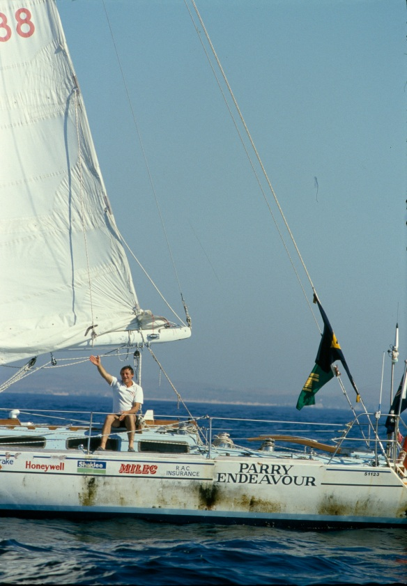 Evan Collins, Jon Sanders arrives at Fremantle on the Parry Endevour after his triple circumnavigation of the world, 13 March 1988, 135227PD – 125229PD, State Library of Western Australia pictorial collection.