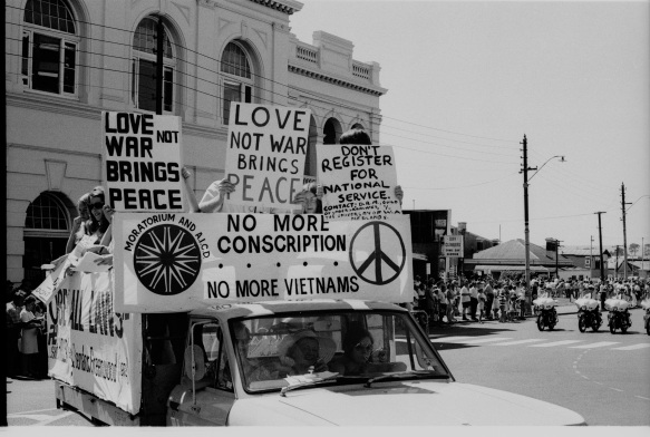 May Day Anti-Vietnam War protest march from Stirling Street to Perth Foreshore, March 1972. 380344PD, State Library of Western Australia pictorial collection