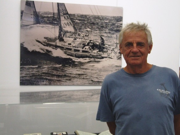 Jon Sanders pictured with photograph of Parry Endevour at Cape Leeuwin.