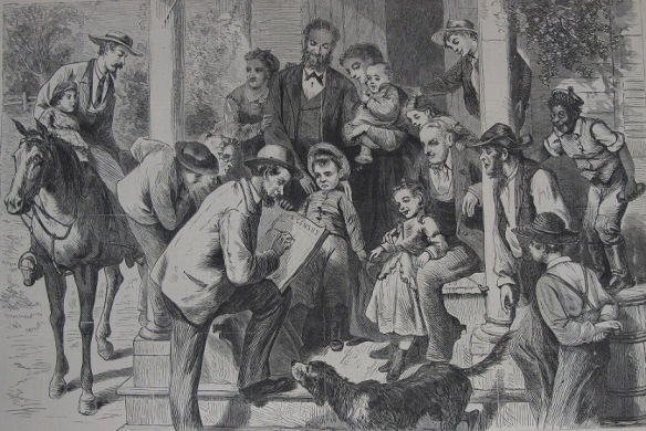 Taking the census. From a sketch by Thomas Worth, Harpers Weekly 19 Nov 1870