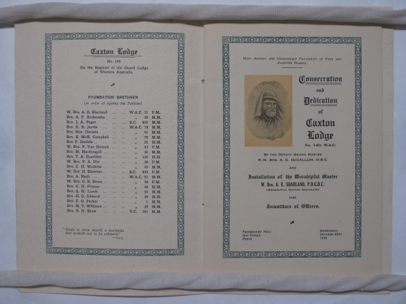 Caxton Lodge Consecration and Dedication pamphlet 1928 PR 13396 GRA 51