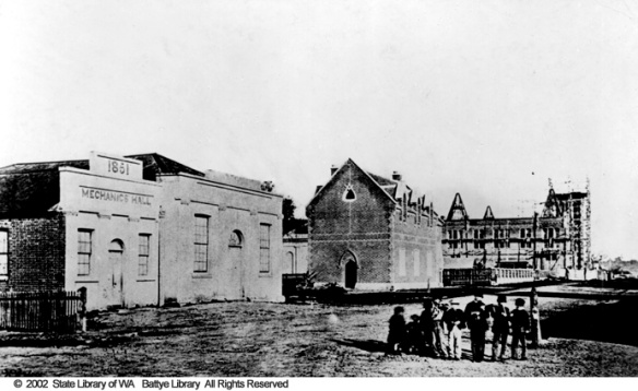 Hay Street west from Pier Street showing the Mechanics' Institute, Freemason's Lodge and Perth Town Hall 1868 009245d
