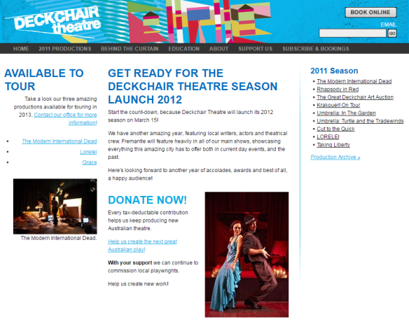 Deckchair theatre 2012 website
