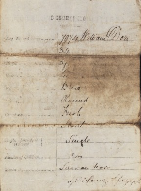 Certificate of Freedom 1869 William Dore (rear) b1875566