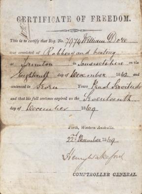 Certificate of Freedom 1869 William Dore b1875566