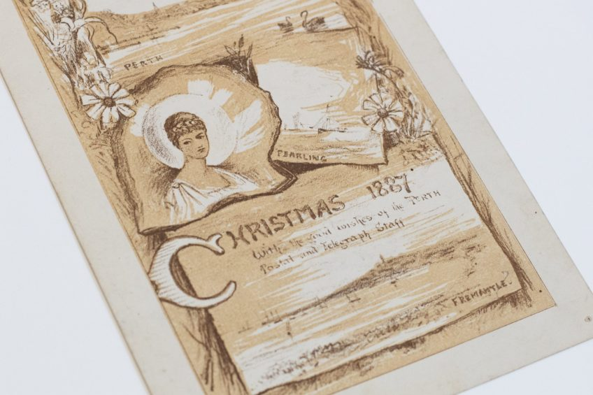 Christmas 1887, With the good wishes of the Perth Postal and Telegraph Staff. Prinsep Family papers, ACC 7093A/86