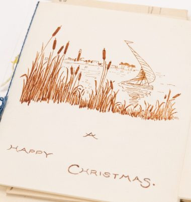 Boat and rushes. Christmas cards from the Brierley girls, 1920s. Elsey Family papers, ACC 8410A/51