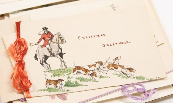 Fox hunt. Christmas cards from the Brierley girls, 1920s. Elsey Family papers, ACC 8410A/51