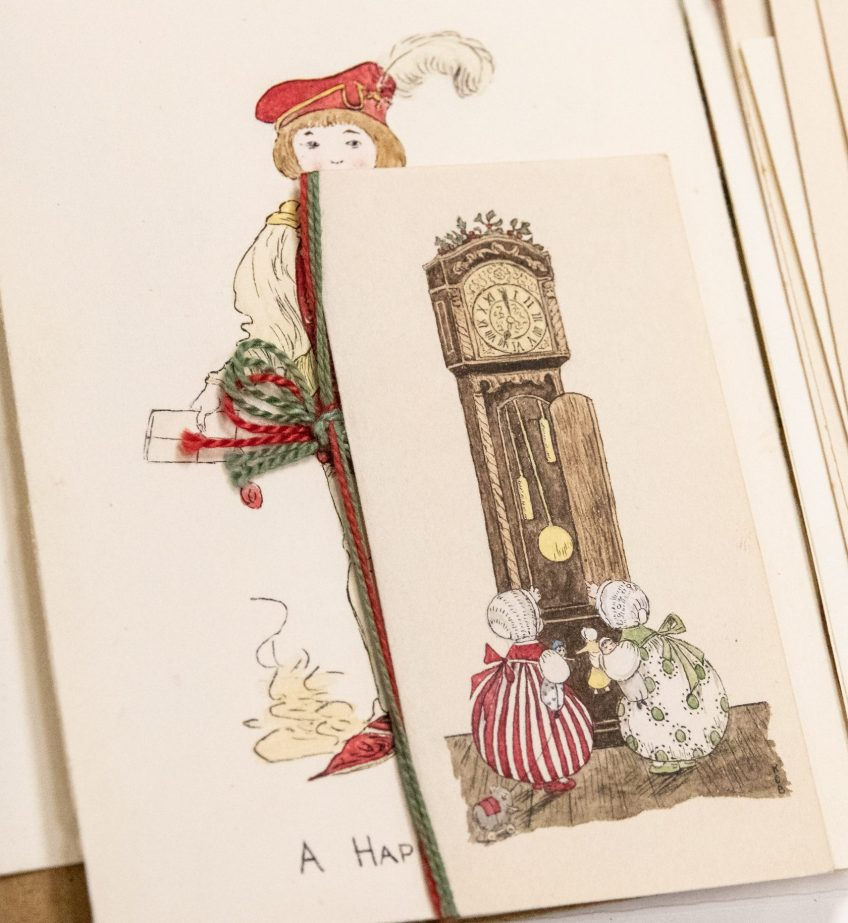 Grandfather clock. Christmas cards from the Brierley girls, 1920s. Elsey Family papers, ACC 8410A/51