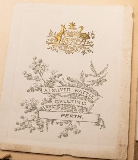 A silver wattle greeting from Perth. Album of greeting cards, Young Australia League records, ACC 7292A/86