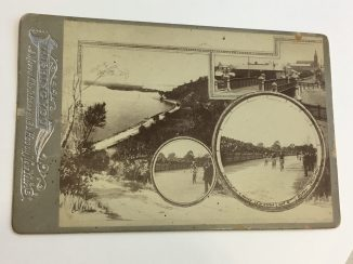 Christmas card showing Perth views and cycling race. 1071B